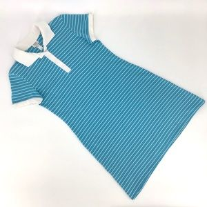Donna Teal Polo-Style Dress with White Stripes, M